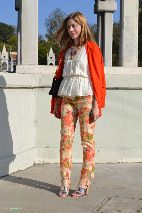 floral-printed-pants-spring-orange-5