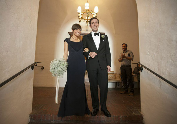 carondelet house wedding navy blue gown
